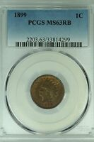 1899 INDIAN HEAD CENT PCGS MS63 RB RED BROWN 1C US COIN LOT 1925
