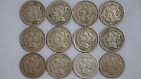 1865,66,67,68,69,70,71,72,73,74,75,81 3 CENT NICKEL COIN LOT OF 12  3CENTNICKELS