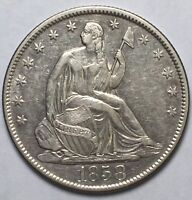 1858 O SEATED HALF DOLLAR AU DETAILS US COIN LOT 105