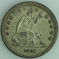1860 SEATED QUARTER XF/AU DETAILS 25C US COIN LOT 1872