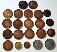 UK 22 COINS PENCE PENNY HALF PENNY FARTHING HALF CROWN FLORIN 1862 1964
