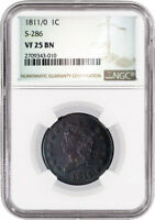 1811/0 1C CLASSIC HEAD LARGE CENT S 286 NGC VF25 BN