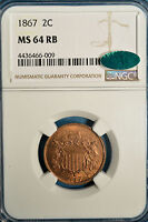 1867 TWO CENT NGC MINT STATE 64RB- EXCEPTIONAL EYE APPEAL, CAC ENDORSED