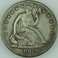 1862 S SEATED HALF DOLLAR XF US COIN LOT 357
