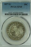 1877 S SEATED HALF DOLLAR PCGS XF45 50C US COIN LOT 2502