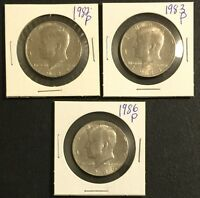 KENNEDY HALF DOLLAR 1982 1983 1986 3 COIN LOT ALL COINS PICTURED