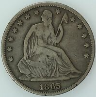 1865 SEATED HALF DOLLAR F/VF 50C US COIN LOT 2421J