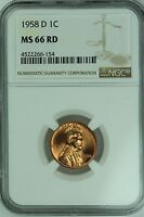 1958 D LINCOLN CENT NGC MS66 RD RED 1C WHEAT PENNY US COIN LOT 2653