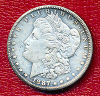 1887-S MORGAN SILVER DOLLAR CHOICE ABOUT UNCIRCULATED SHIPS FREE