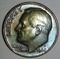 1969 D BEAUTIFULLY TONED ROOSEVELT DIME. DOUBLED RIM. BLUE/GOLD OBV RAINBOW REV