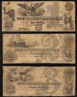 3 PC 1800S $1 $2 $3 DOLLAR COCHITUATE BANK NOTE BOSTON CURRENCY OLD PAPER MONEY