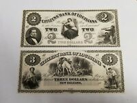 LOT OF 2   1800S $2 & $3 CITIZEN'S BANK OF LOUISIANA