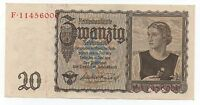 GERMANY 20 MARK REICHSMARK 1939 PICK 185 AUNC