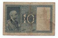 ITALY 10 LIRE 1939 PICK 25 C LOOK SCANS