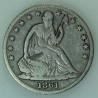 1861 O SEATED LIBERTY HALF DOLLAR F DETAILS FINE 50C US COIN LOT 392
