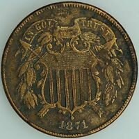 1871 TWO CENT PIECE 2C AU DETAILS US COIN LOT 1814