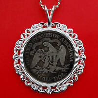 US 1875 SEATED LIBERTY SILVER HALF $ COIN SOLID 925 STERLING SILVER NECKLACE NEW