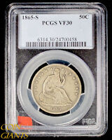 1865 S SEATED LIBERTY HALF DOLLAR PCGS VF 30 SILVER EARLY KEY DATE TYPE COIN