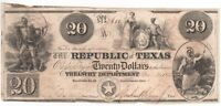 1846 REPUBLIC OF TEXAS $20 BANKNOTE.