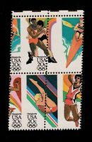 US 2085A L.A. OLYMPICS PERF. SHIFT  EFO/ERROR STAMP BLOCK. MNH
