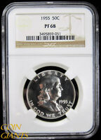 1955 PROOF FRANKLIN HALF DOLLAR NGC PF68 HIGH GRADE GEM PR 50C  COIN WOW