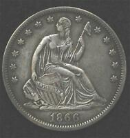 1866 S LIBERTY SEATED HALF  NO MOTTO VARIETY STRONG XF