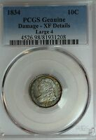 1834 BUST DIME PCGS XF DETAILS LARGE 4 TONED 10C US COIN LOT 1324