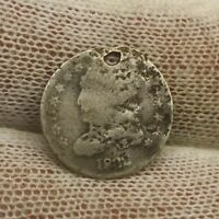 1832 CAPPED BUST SILVER HALF DIME X801 HOLED PRE CIVIL WAR ISSUE 5 CENT HISTORY