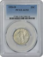 1924-D STANDING LIBERTY QUARTER AU53 PCGS ALMOST UNCIRCULATED 53