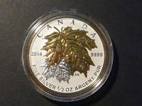 CANADA 2014 $4 SILVER MAPLE LEAF 1/2 OZ SINGLE FROM FRACTIONAL SML SET