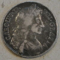 GREAT BRITAIN 1676 HALF CROWN KM 438.1 MID GRADE WITH TYPICAL STRIKE WEAKNESS
