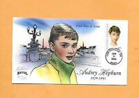 US FDC 2003 FIRST DAY COVER 3786 AUDREY HEPBURN BEVIL SIGNED NUMBERED CACHET