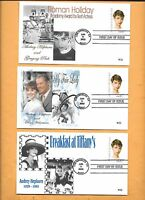 US FDC 2003 FIRST DAY COVER 3786 AUDREY HEPBURN COLLECTION OF 3 DIFFERENT