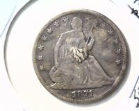 1871 S  SEATED LIBERTY HALF DOLLAR NET GOOD CONDITION   ADDED METAL