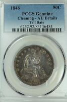 1846 SEATED HALF DOLLAR PCGS AU DETAILS TALL DATE 50C US COIN LOT 3153