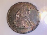 1860 SEATED LIBERTY HALF DOLLAR NGC MS63 50C BEAUTIFUL IRIDESCENT COLORS PREMIUM