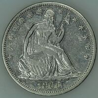 1866 SEATED HALF DOLLAR XF DETAILS 50C US COIN LOT 3195