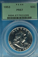 1953 FRANKLIN HALF DOLLAR PCGS PR67  SHARP HIGHER GRADE OGH