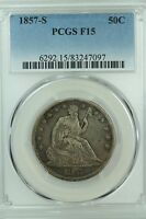 1857 S SEATED HALF DOLLAR PCGS F15 FINE 50C US COIN LOT 2716