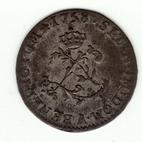 FRENCH COLONIAL 1758 A BILLON SOUS MARQUES VLACK  42 R5