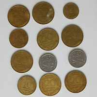 12 FRENCH COINS OLD MONEY 1964 1965 1966 1967 1968 1969 CENTIMES 1/2 FRANC 1960S