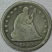 1843 O SEATED QUARTER FINE/VF DETAILS 25C US COIN LOT 624J