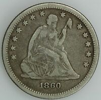 1860 SEATED QUARTER VF FINE 25C US COIN LOT 1694
