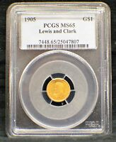 1905 LEWIS AND CLARK GOLD DOLLAR  CERTIFIED PCGS MINT STATE 65 7448.65/25047807