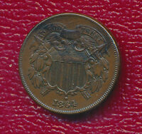 1864 TWO CENT 2 CENT COPPER PIECE  CIRCULATED TYPE COIN SHIPS FREE
