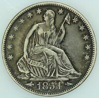 1854 O SEATED HALF DOLLAR AU/UNC DETAILS 50C US COIN LOT 2850