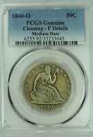 1846 O SEATED HALF DOLLAR PCGS FINE DETAILS MEDUIM DATE 50C US COIN LOT 322