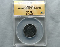 1853 ARROWS & RAYS SEATED LIBERTY 25C QUARTER ANACS CERTIFIED VF 30 DETAILS COIN