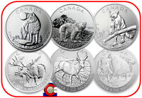 2011 2013 CANADA 6 1OZ SILVER WOLF GRIZZLY COUGAR MOOSE ANTELOPE BISON