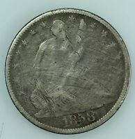 1858 O SEATED LIBERTY HALF DOLLAR VG/FINE DETAILS 50C US COIN LOT 367